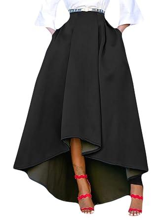 Dokotoo Jupe Femme Patineuse Taille Haute Vintage Jupe Longue Plissée Haut  Bas Chic Avec Deux Poches ede6d85337b9