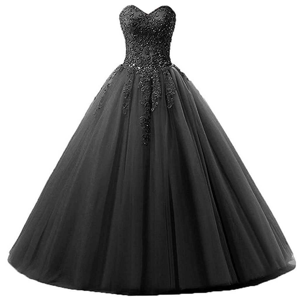 Black Vantexi Women's Sweetheart Tulle Prom Ball Gown Quinceanera Dresses