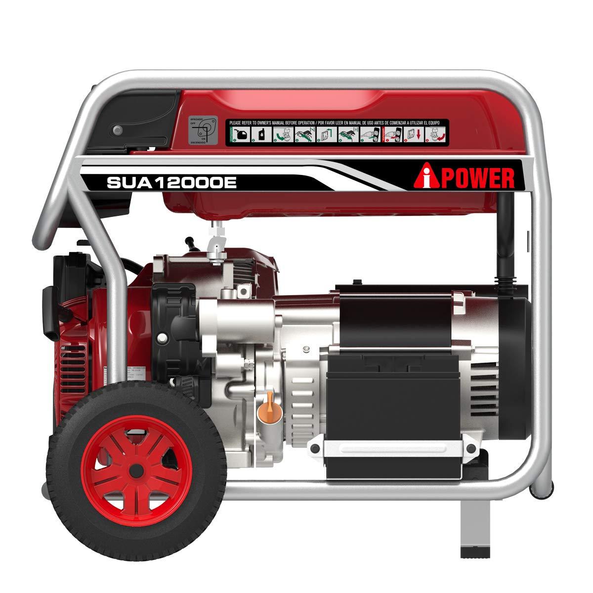 A Ipower Sua12000e 12 000 Watt Portable Generator Gas System 12000 Wiring Schematic Standby Powered Electric Start Red Garden Outdoor