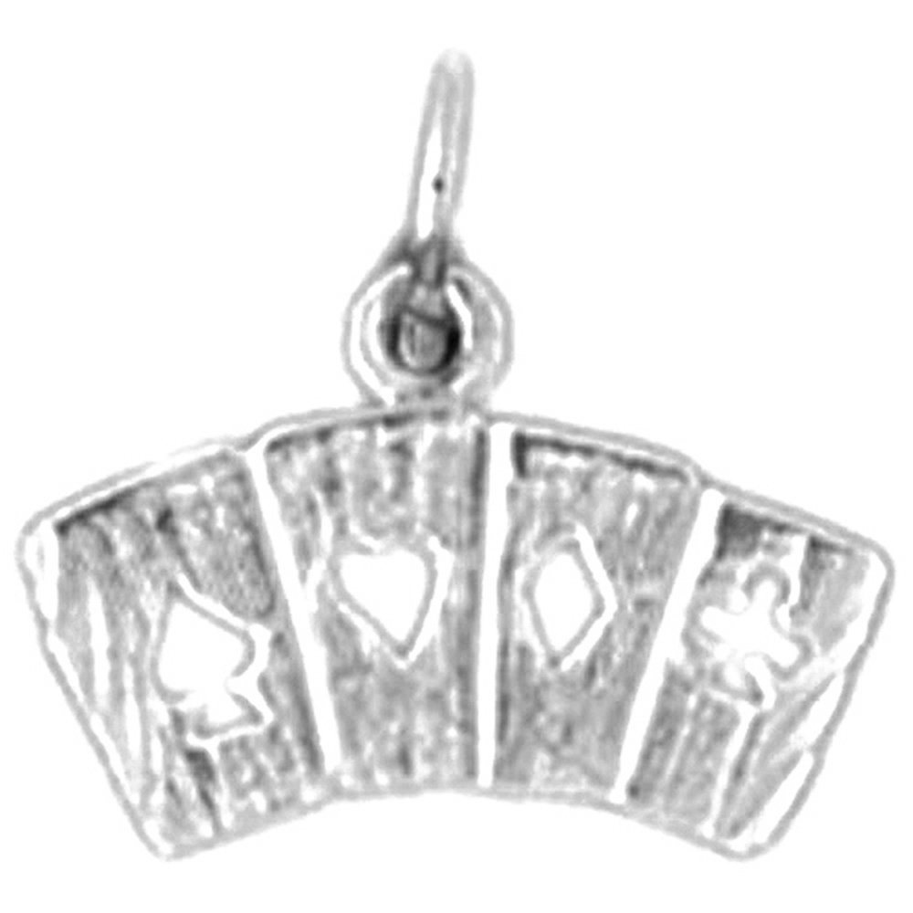 Jewels Obsession Playing Cards Flush Pendant with 16 Necklace Rhodium-plated 925 Silver Playing Cards