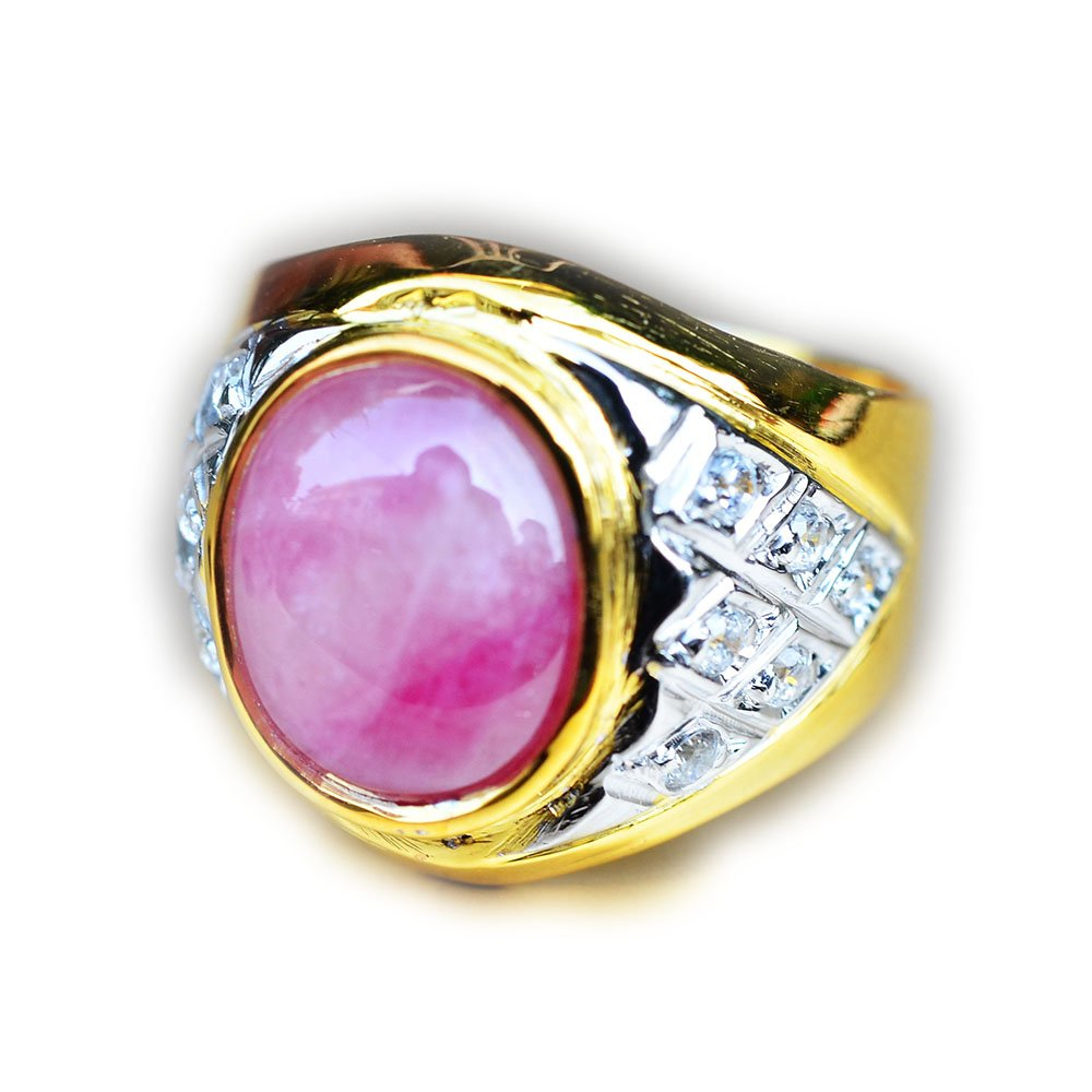 Lovemom 43.04ct Natural Cabochon 3-Colors Ruby 925 Gold Silver Ring 7.75US Mali #PU