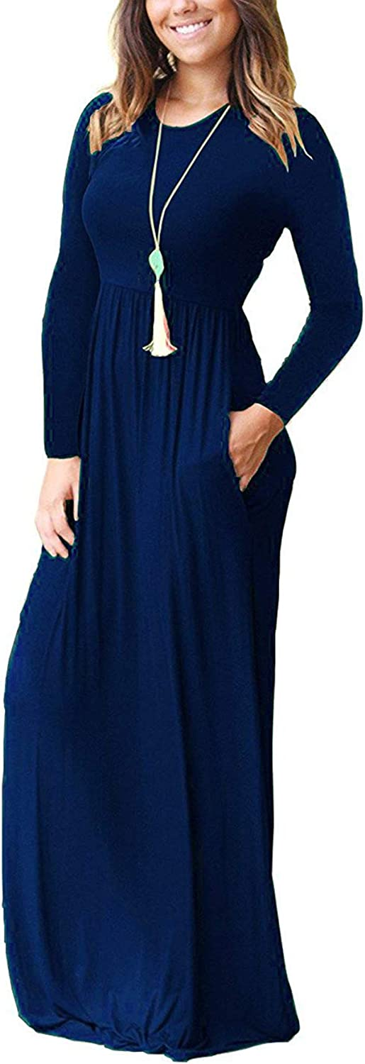 Freemale Womens Long Sleeve Crewneck Solid Casual Long Maxi Dress with Pockets