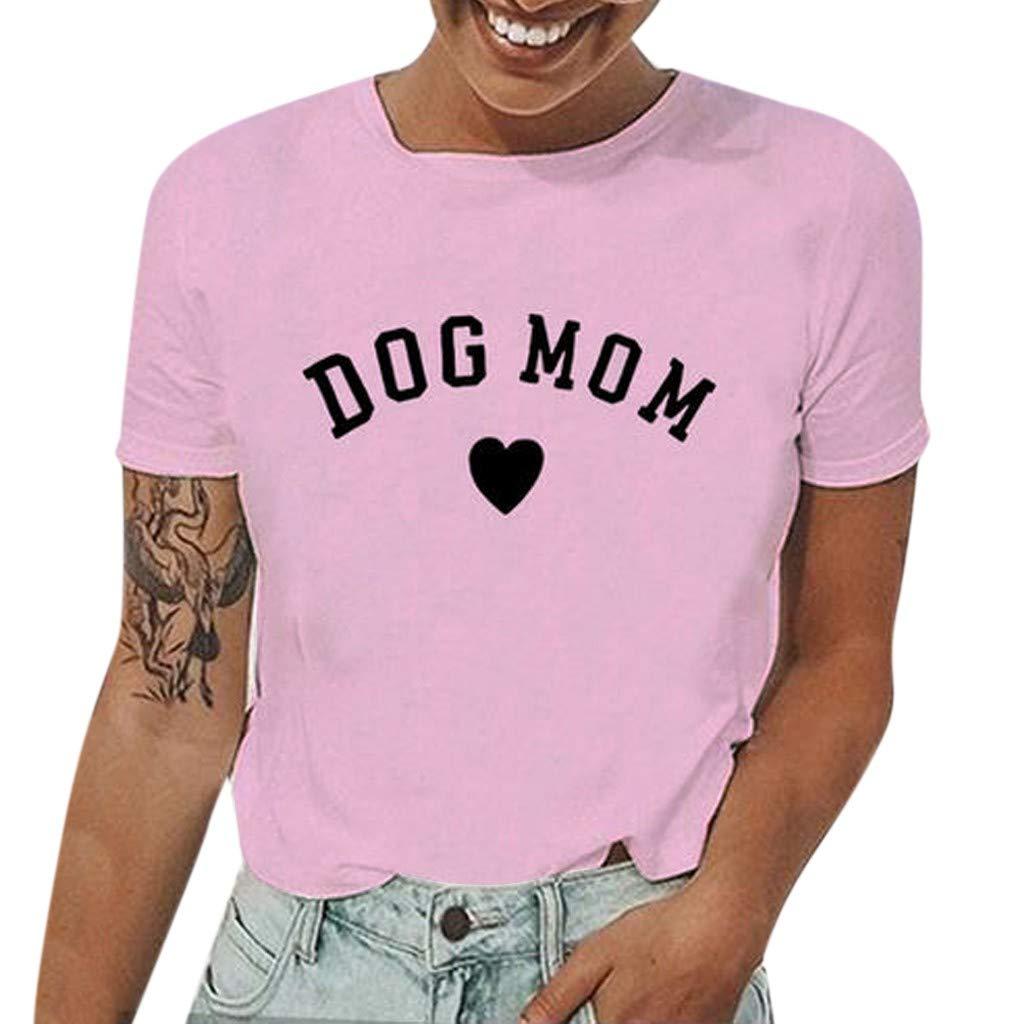Him Tak Dog Mom Ladies Fashion Simple Printed t-Shirt Short-Sleeved o-Neck Casual Wild Comfortable Shirt Top