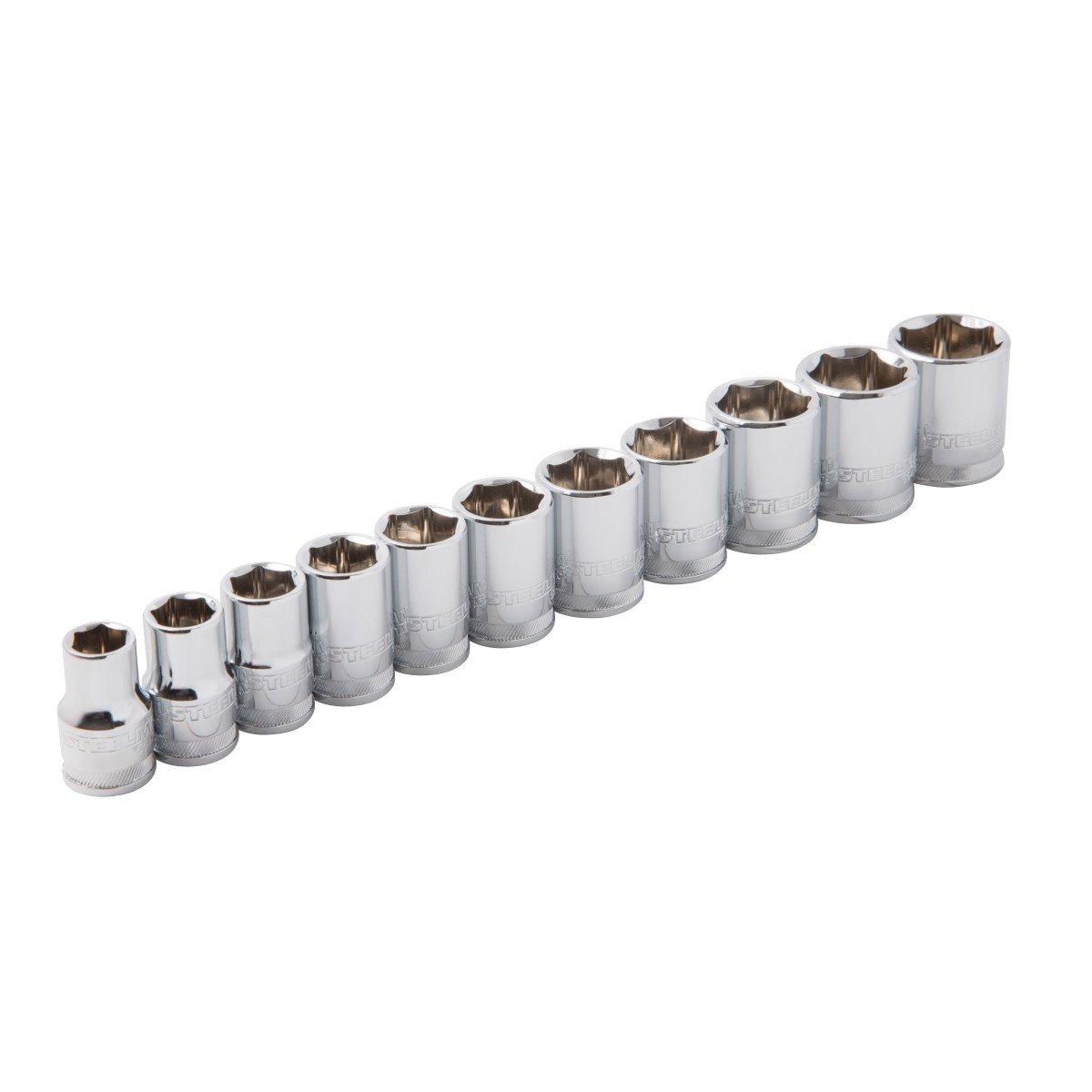 Steelman 55469 11-Piece 3/8-Inch Drive Metric 6-Point Chrome Socket Set