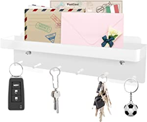 WOJOGO Key Holder for Wall - Metal Key Hanger with Mail Organizer and 6 Hooks, Adhesive & Screw Mounted Rack for Home, Entryway, Front Door, Office, Kitchen, Laundry Room (White)