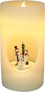 DRomance Music and Swirl Flameless Candle Battery Operated with 6 Hour Timer, Real Wax Warm Light Singing LED Flickering Hollow Candle Christmas Decoration Gifts(8