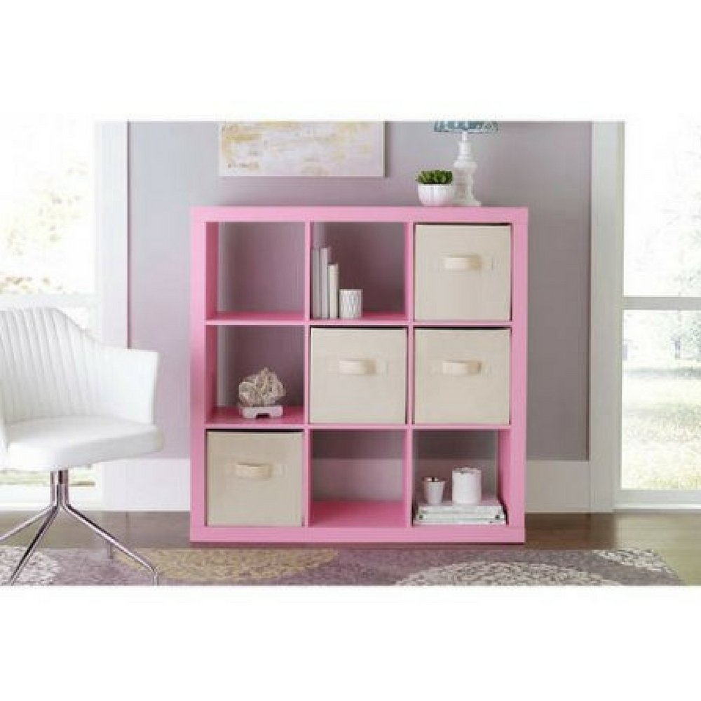 Better Homes and Gardens 9-cube Organizer Storage Bookcase Bookshelf Cabinet Divider (Pink)
