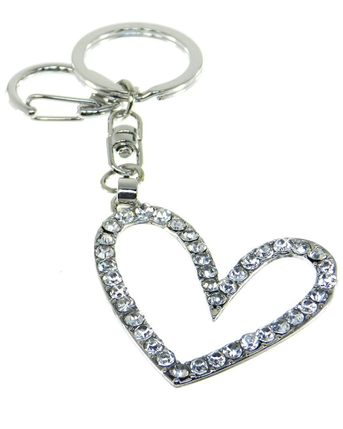 Purse Charm/Key Chain - Rhinestone Open Heart - Clear Crystals