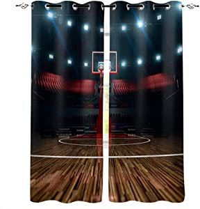 Teen Room Decor Polyester Curtains, Professional Basketball Arena Stadium Before Game Championship Sports Image,2 Panel Drapes/Window Treatment for Living Room/Bedroom/Office,80 W x 63 L inches