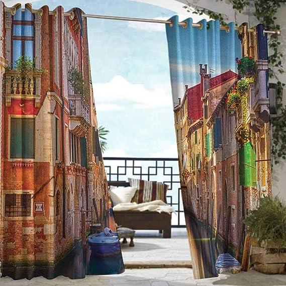Andrea Sam - Cortina de privacidad para Exteriores para pérgola Europea, con iluminación en Colonia, diseño de Puente Antiguo y Atardecer Europeo con Ojales: Amazon.es: Hogar