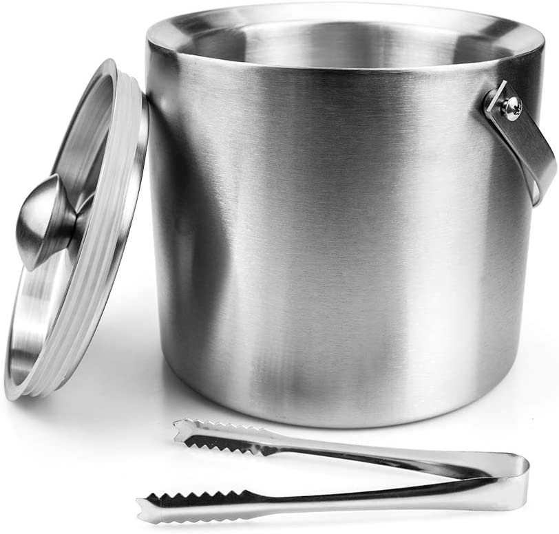 6.7H x 7.5W Inches Tebery Stainless Steel Insulated Ice Bucket with Lid and Tong Double Walled Silver Barware Serveware for Parties Events Gatherings