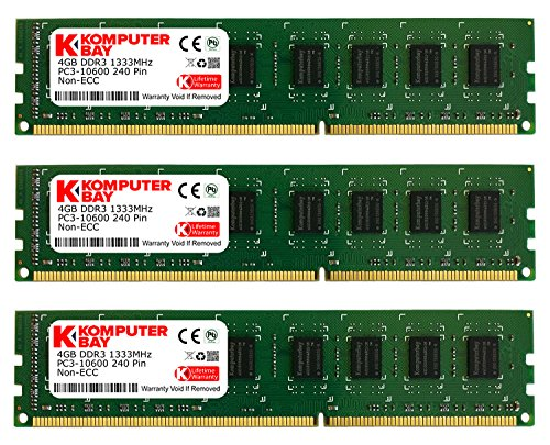 - Komputerbay 12GB (3 X 4GB) DDR3 DIMM (240 pin) 1333Mhz PC3 10600 / PC3 10666