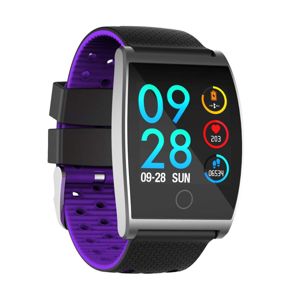 Buybuybuy QS05 Smart Watch, Activity Tracker 1.3 inch HD Screen Bluetooth 4.0 Sports Smart Wristwatch Blood Pressure Heart Rate Monitoring Large Battery Bracelet for Android & iOS (Purple)