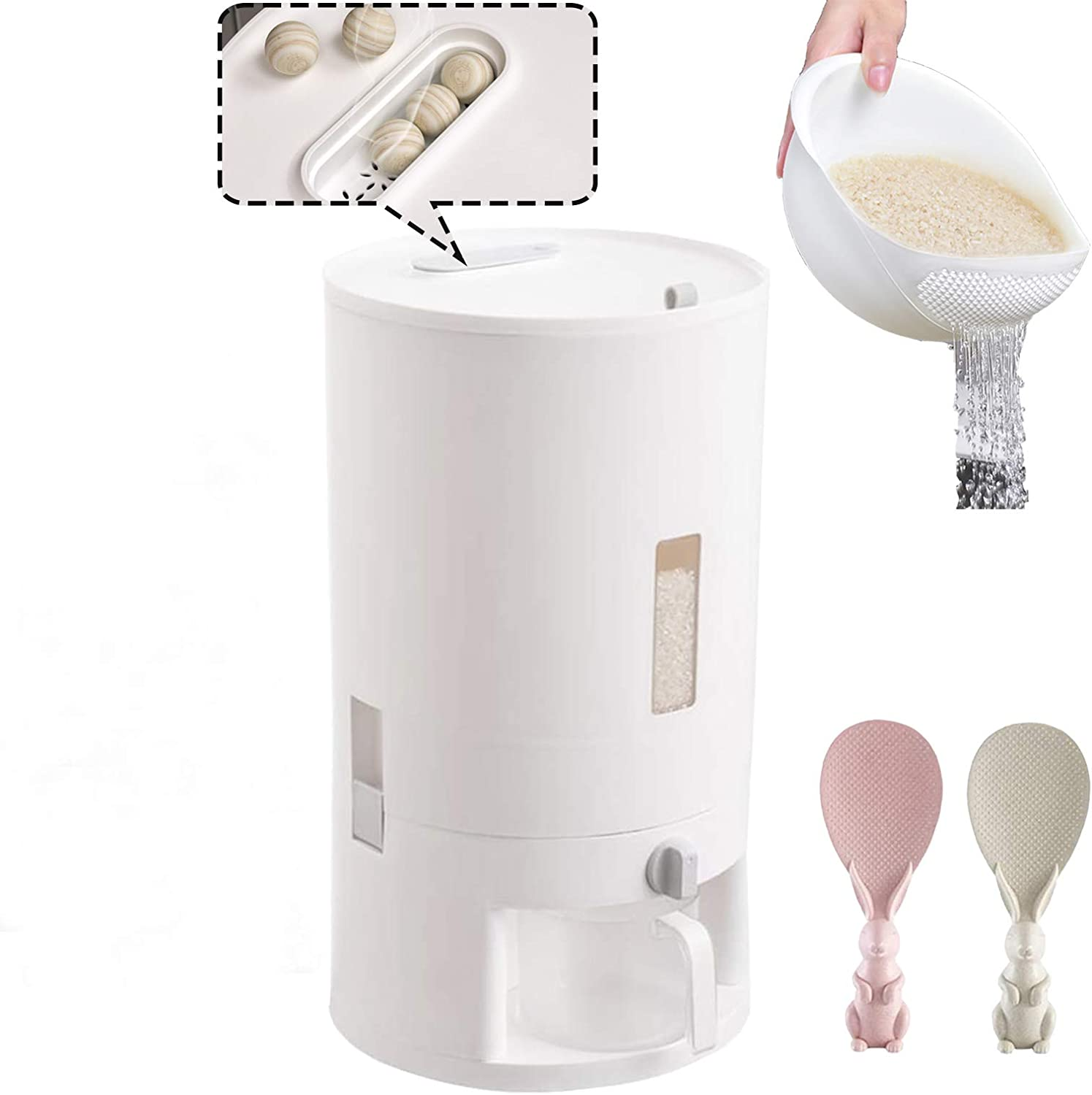 Rice Dispenser rice Storage Box, Large Kitchen Food Grain Storage Container, Automatic Grain Storage Bin, Household rice bucket with lid, measuring cup, drain basket, rice spoon-Wihte… (white 11kg)