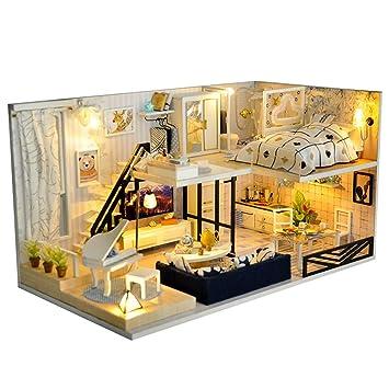 Extrem Puppenhaus Süß Haus DIY Selbermachen Basteln Licht Bausatz Holz QC54