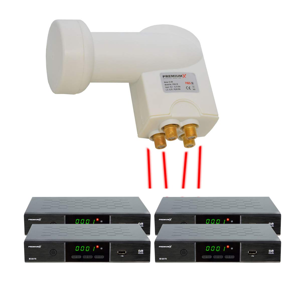 PremiumX Quad LNB Digital SAT f/ür 4 Teilnehmer Wei/ß Quattro Switch 4-Fach Empfangskopf 0,1dB DVB-S2 HDTV 4K Wetterschutz