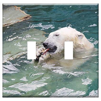 Switch Plate Double Toggle - Bear Lunch Predator Zoo Wildlife Beast