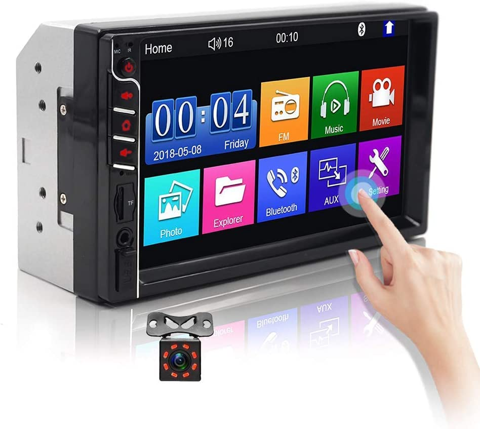 "Double Din Car Stereo Audio Receiver with Bluetooth 7/""Touch Screen Car MP5 Player Support USB//TF//AUX-in//FM Radio Mirror Link with Backup Camera Remote Control"