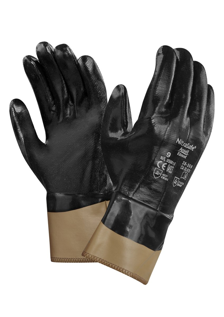 Ansell NitraSafe 28-359 Cut protection gloves, mechanical protection, Black, Size 8 (Pack of 12 pairs)