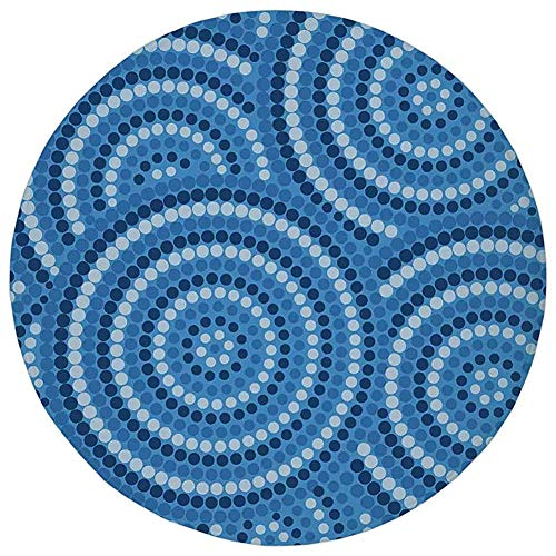 Round Rug Mat Carpet,Navy Blue Decor,Abstract Aboriginal Ethnic Indigenous Australian Mosaic Style Dots Boho Art,Dark Blue,Flannel Microfiber Non-Slip Soft Absorbent,for Kitchen Floor Bathroom