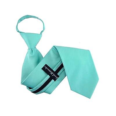 "Aqua - Turquoise 14"" Solid Color Boys & Kids Zipper Necktie"