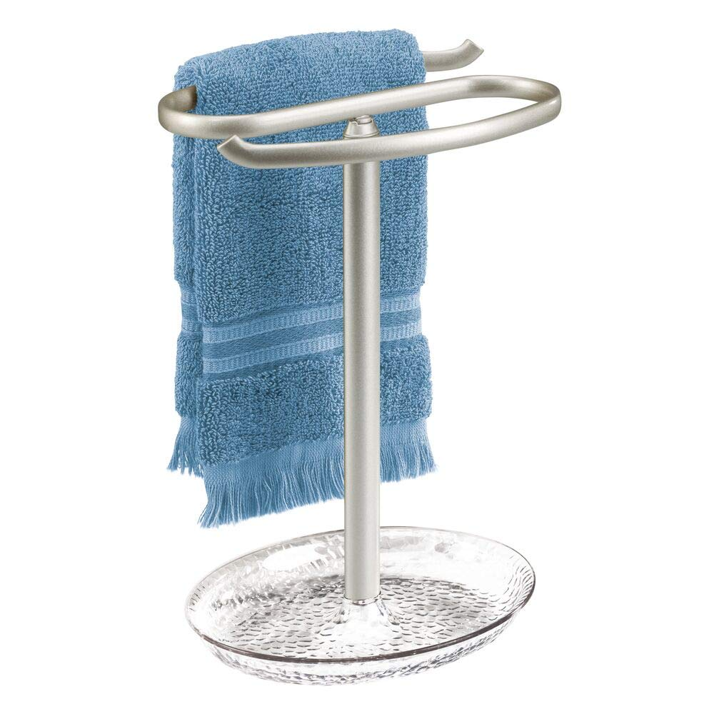 mDesign Decorative Metal Fingertip Towel Holder Stand with Base Tray for Bathroom Vanity Countertops to Display and Store Small Guest Towels or Washcloths - 2-Sided, 10.5'' High - Clear/Satin