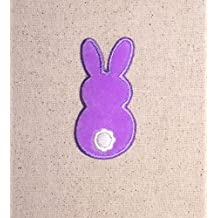 Purple Fuzzy Easter Bunny Back Side Iron on Embroidered Patch Applique