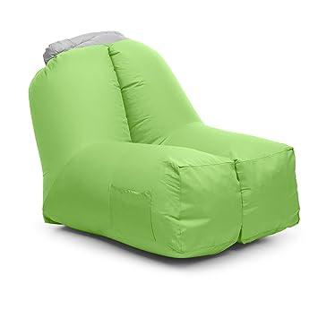 Blumfeldt Airchair • Sillón inflable • Sillón hinchable • Camping • Playa • Piscina • Viaje • Impermeable • Mochila transporte incluida • Verde