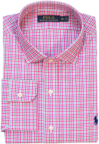 Polo Ralph Lauren Men's Standard-Fit Plaid Poplin Shirt, Pink/Green, (Wide Collar Poplin Shirt)
