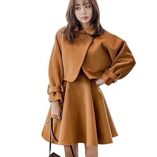 YAANCUN Mujer Otoño e Invierno Moda Sets 2 Piezas, Mujer Slim Fit Sin Mangas A-línea Elegante Vestid...