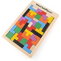 Flybiz Puzzle de Madera Tetris,Tangram Rompecabezas Juego Juguetes educativos (40 Piezas),Jigsaw Puzzle Tetris del…