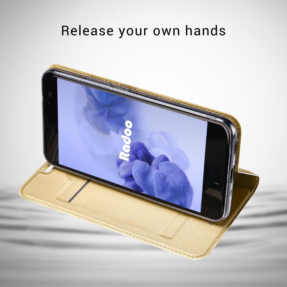 Radoo HTC U11 H/ülle,HTC U11 Lederh/ülle Schwarz grau Premium PU Leder Handyh/ülle Brieftasche-Stil Magnetisch Klapph/ülle Etui Brieftasche H/ülle Schutzh/ülle Tasche f/ür HTC U11