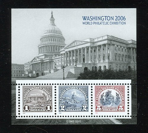 USPS Washington DC 2006 World Philatelic Exhibition Souvenir Sheet of 3 Stamps Scott 4075 ()