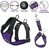Lukovee Dog Safety Vest Harness with Seatbelt, Dog Car Harness Seat Belt Adjustable Pet Harnesses Double Breathable Mesh…