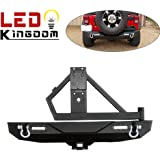 """LEDKINGDOMUS Rear Bumper with 2 LED 18w Work light &Tire Carrier 2"""" Hitch Receiver and 2x D-Ring Textured (Black) For 07-17 Jeep Wrangler JK Unlimited models"""