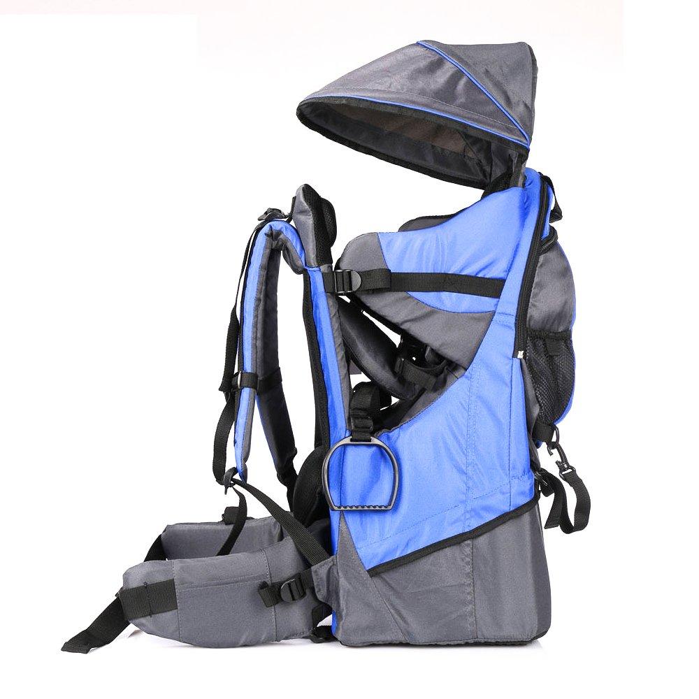 Rucksacktrage für Babys und Kleinkinder, Wander-Transport-Rucksack, Regenschutz und Sonnenschutz für das Kind blau XTLSTORE