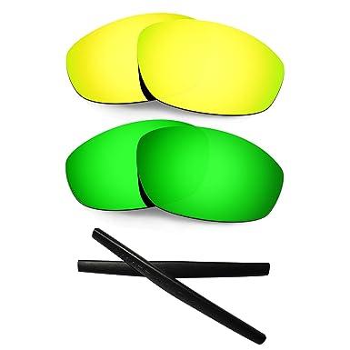 53bd9dca8d HKUCO For Oakley Whisker 24K Gold Green Polarized Replacement Lenses and  Black Earsocks Rubber Kit