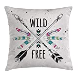 48 Inch Square Ottoman YVSXO Tribal Throw Pillow Cushion Cover, Crossed Ethnic Arrows with Wild and Free Motivation Quote Primitive Illustration, Decorative Square Accent Pillow Case, 18 X 18 Inches, Black Coconut