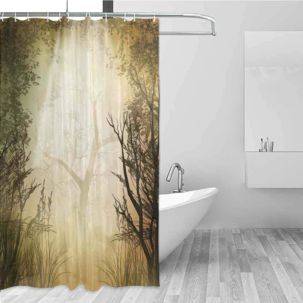 BE.SUN Bathroom Curtains,Mystic Forest,for Master, Kid's, Guest Bathroom,W55x86L Pale Yellow by BE.SUN