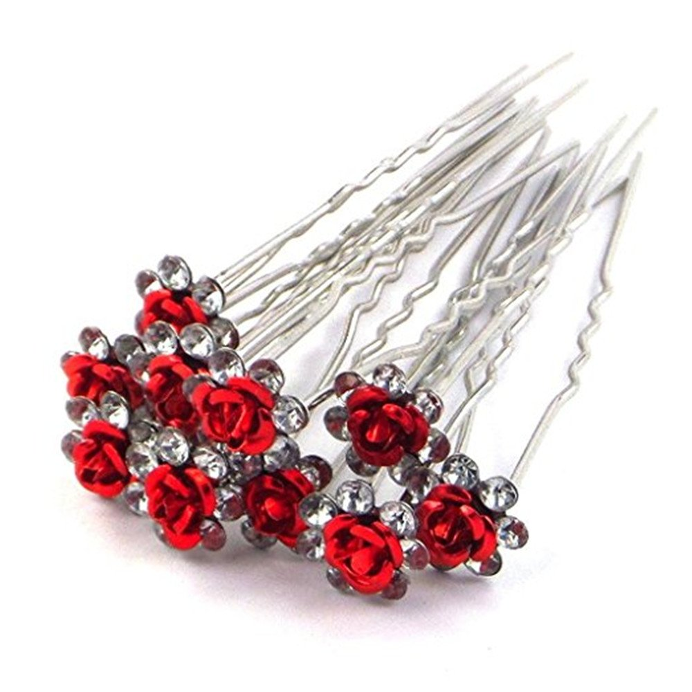 Livecity Wedding Prom Silver Crystal Diamante Rose Flower Hair Pins Clip Accessories (Blue)