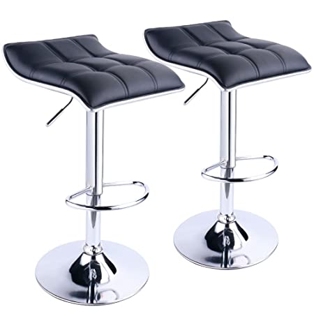 Adjustable Bar Stools,Swivel Square Backless Bar Stool by Leopard, Set of 2 – Black