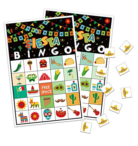 Cinco de Mayo Bingo Game - Fiesta Mexican Birthday Party Supplies (24 Players) by jollylife