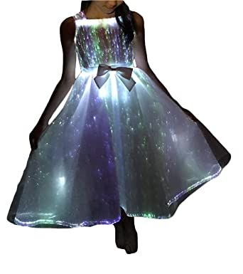559c3aaf280 Amazon.com  Kids Fiber Optic Light up Princess Dresses Glow in The Dark  Girls Costume for Party Dance  Clothing