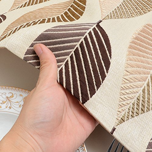 Elegant Leaf Jacquard Table Runners LivebyCare For Home Decorative Coffee Table 13 x 48 Inches Polyester Table Runner Coffee by LivebyCare (Image #2)