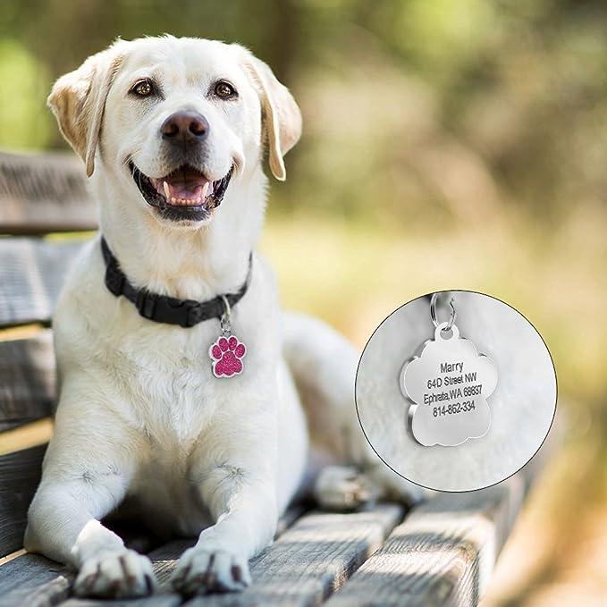 S con Grabado l/áser Rojo 0.9 di/ámetro Beirui Placas de identificaci/ón Huellas Personalizadas en Acero Inoxidable de 24 mm para Perros y Gatos