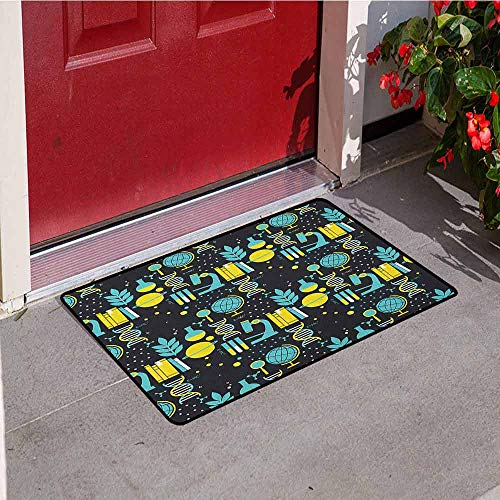 (Gloria Johnson Education Front Door mat Carpet Science Class Themed Biology Chemistry and Physics Protons Neutrons Machine Washable Door mat W29.5 x L39.4 Inch Turquoise Yellow Black)