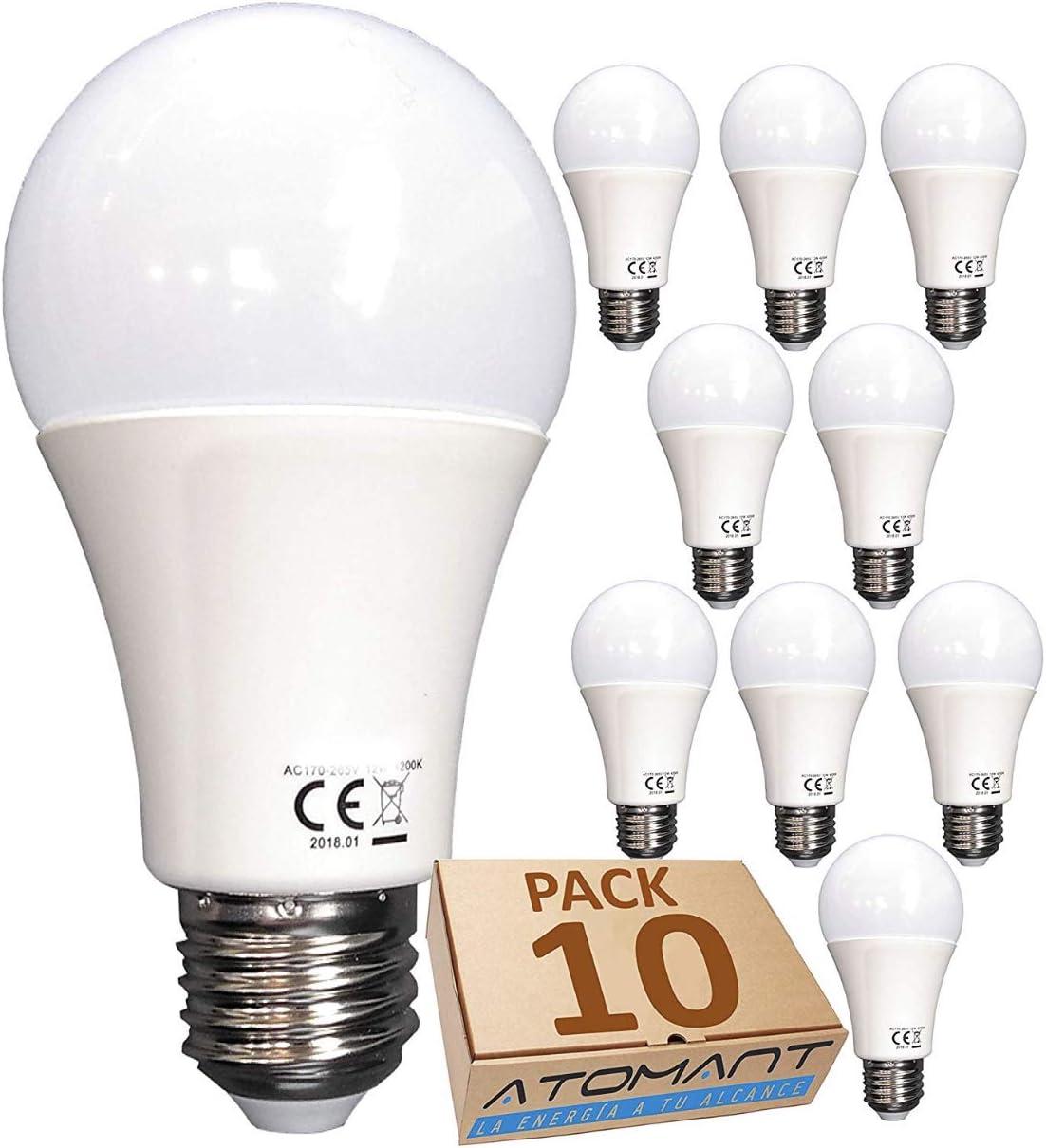 Pack 10x Bombilla LED A60, 12w. Color Blanco Frio (6500K). 1120 Lumenes Equivalencia 100w, no Regulable. A++