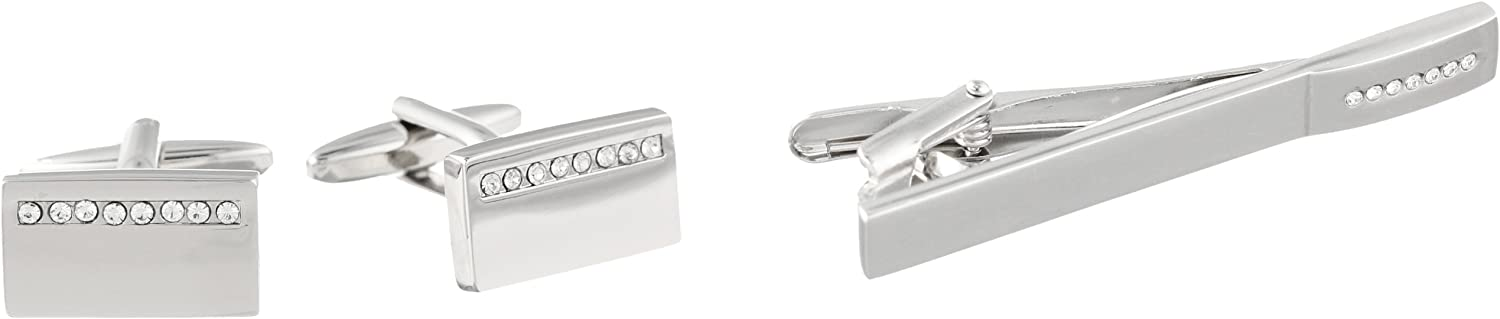 Stacy Adams Men's Polished Silver Cuff Link & Tie Bar W/crys Stip Set