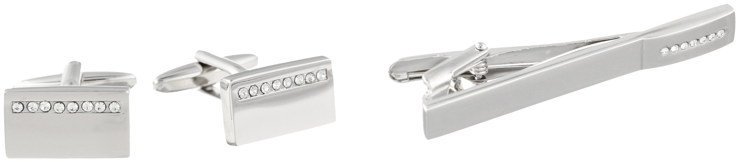 Stacy Adams Men's Polished Cuff Link and Tie Bar With Crystal Stipe Set, Silver, One Size
