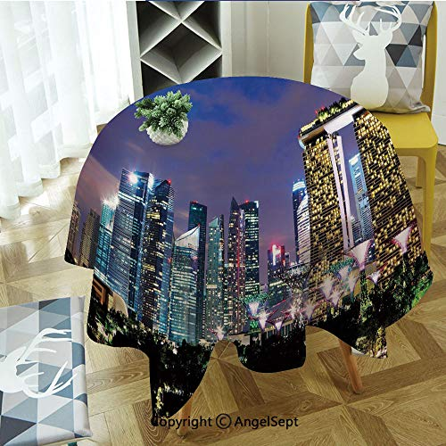 Spillproof Tablecloths for Round Tables 47 Inch, Singapore Cityscape at Night Modern Architecture Urban Life Asian Landmark Indoor Outdoor Camping Picnic Circle Table Cloth,Multicolor